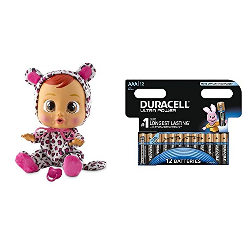 IMC Toys - Weeping Babies - Lea (10574) with Duracell Ultra Power - 12 Pack AAA Alkaline Batteries