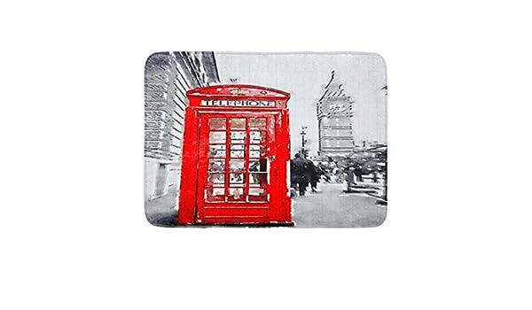 Zhengzho Paillassons antid/érapants Aquarelle Bigben Aquarelle Num/érique de la Cabine Rouge /à Londres Big Ben Durables Tapis 40x60cm