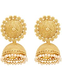Ethnic Bollywood Design Gold Plated White Pearl Jhumki Earring Set For Women's Party Wear Jewellery