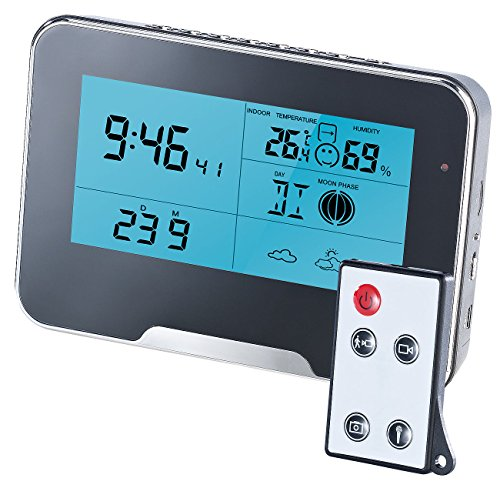 Somikon Wetterstation mit Kamera: Full-HD-Überwachungskamera mit Wetterstation und Bewegungserkennung (Kamera Wecker) Mini-wecker Versteckte Kamera