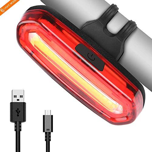 OUNDEAL Luz Trasera para Bicicleta Recargable USB, Luz LED Trasera Bicicleta Potente 6 Modos, Faro Trasero Bici para Máxima Seguridad de Ciclismo