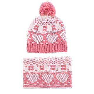 Ailly Unisex Boy Girl Scarf Hat Heart Jacquard Kids Neck Warmer Circle Loop Scarf Children Winter Warm Hairball Beanie Cap