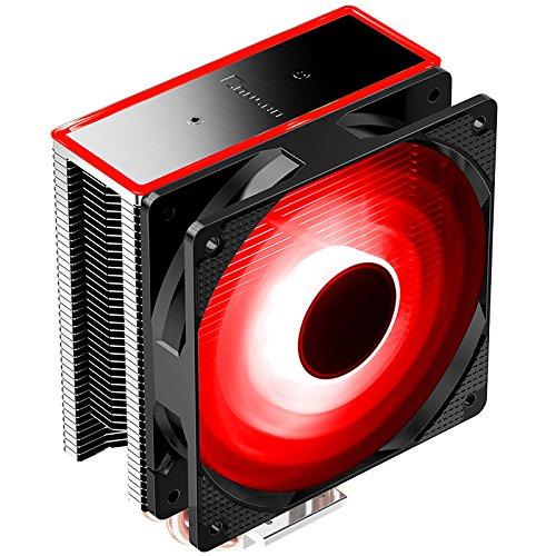 Jonsbo CR-601 - Red, CPU Kühler f. Intel LGA775/1150/1151/1155/1156 & AMD AM2(+)/AM3(+)/FM1/FM2(+)/AM4, 4 x 6 mm Heatpipes, 120 mm Red LED Lüfter (800 - 1.500 U/Min, 19,5 - 29,2 dB(A)) (Lga775 Cpu Kühler)