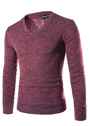 Strickpullover Sweatshirt Langarmshirt Pullover Langarmshirt Herren Langen Ärmeln Einfarbig Rundhals Schlanke Strickwaren Herbst Winter Winered