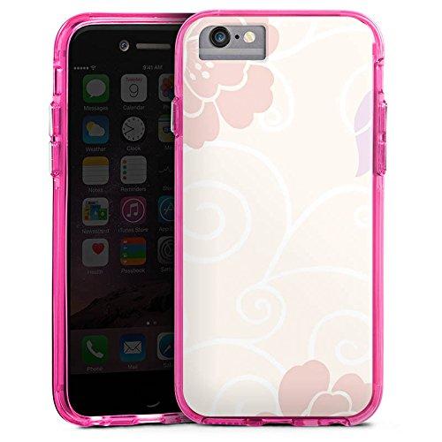 Apple iPhone X Bumper Hülle Bumper Case Glitzer Hülle Flower Blumen Flowers Bumper Case transparent pink