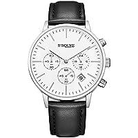 Alienwork Quarz Armbanduhr Multi-funktion Uhr Herren Uhren Damen Zeitloses Design Leder weiss schwarz S002GA1-P-02
