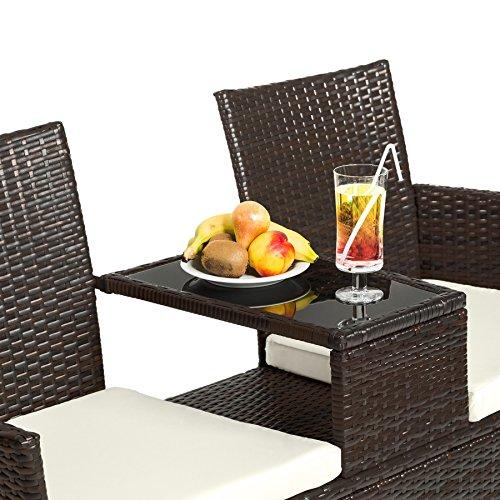 TecTake Sitzbank mit Tisch Poly Rattan Gartenbank Gartensofa inkl. Sitzkissen schwarz braun - 4