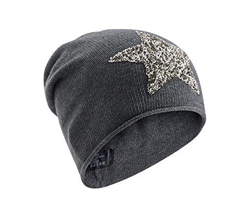 Kurt Koelln berretta in maglia donna cachemire stella paillette (antracite / argento)