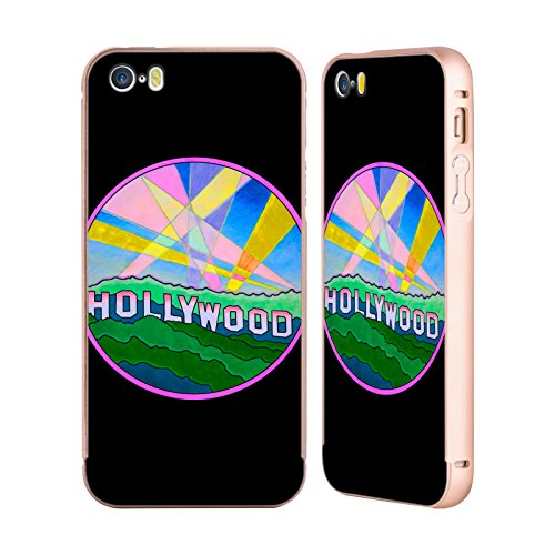 Ufficiale Howie Green Astratto Cerchio Oro Cover Contorno con Bumper in Alluminio per Apple iPhone 5 / 5s / SE Pop Art Hollywood