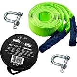 Tech Traders ® Recovery Straps, Towing belt,Towing Rope/Towing Road Recovery Strap for Cars Fluorescent 17600Ib 5 Meter With 2 Shackles&2 Slip-Proof Gloves FREE Carry Case