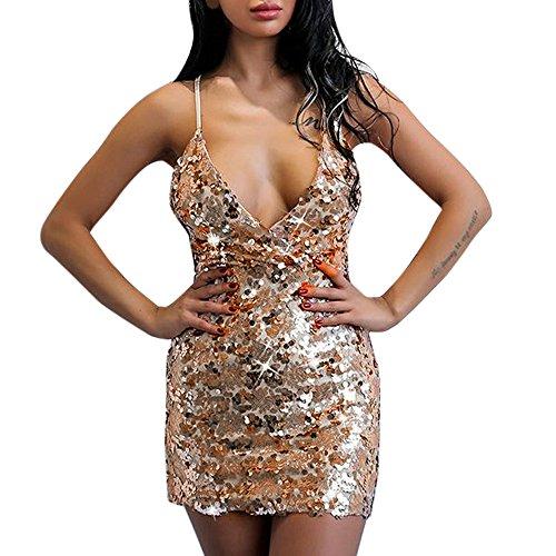 Zolimx Kleid Gedruckt Frauen Pailletten Tiefer V-Ausschnitt Bodycon Halter Sexy Clubwear Minikleid (L)