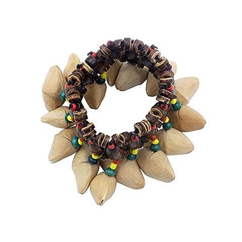 ammoon Bracelet en Coquille de Noix Fait Main Handbell pour Djembe African Drum Conga Accessoires pour Percussion