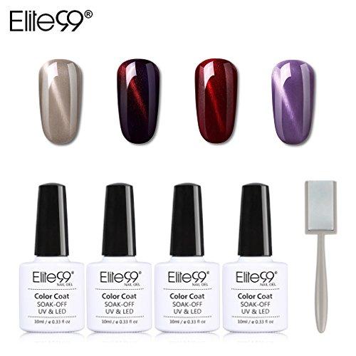 Elite99 smalto semipermanente per unghie in gel uv led 4pcs kit ricostruzione per unghie con magnete occhi di gatto smalti semipermanenti soakoff - 021