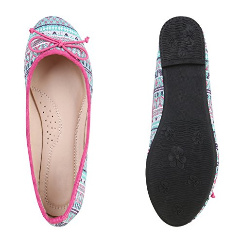 Modische Damen Ballerinas Ketten Halb Schuhe Neon Slipper Pink Bunt