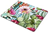 Cactus Gaming Mouse Pad,Watercolor with Flowers Roses and Cactus Mouse Pad