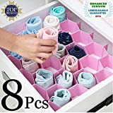 Angel Bear Honeycomb Closet Organizer Drawer Dividers Plastic Partition Cabinet Clapboard Storage Boxes for Underwear Socks Ties Belts Scarves and Makeup (Pack of 8 Straps, Pink)