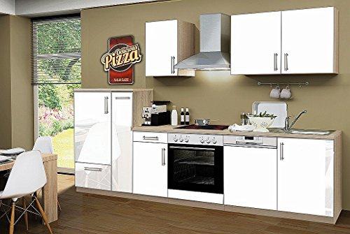 idealShopping Küchenblock mit Geschirrspüler und Ceranfeld Premium 300 cm in weiß glänzend