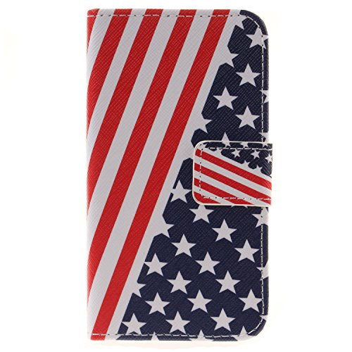 United Vertical Flag (CaseFirst LG K4 Case Flip, Cover Suit Premium Vertical Leather Pouch Sleeve Carrying Case Daily with Card Slot for LG K4 (United States Flag))