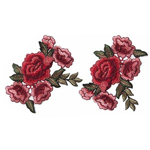 2Stück Embroidery Patch Stickerei Rose Blume für Badge Krawatte Kleid Applique Nähen (B) (Patch-krawatte)