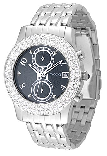 Moog Paris Heritage Women's Watch with Black Dial, Silver Stainless Steel Strap & Swarovski Elements - M45554-003