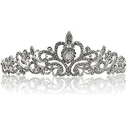 Katara 1738 - Silbernes Strass Diadem für Damen oder Mädchen für Hochzeit, Brautjungfern, Kommunion, Konfirmation