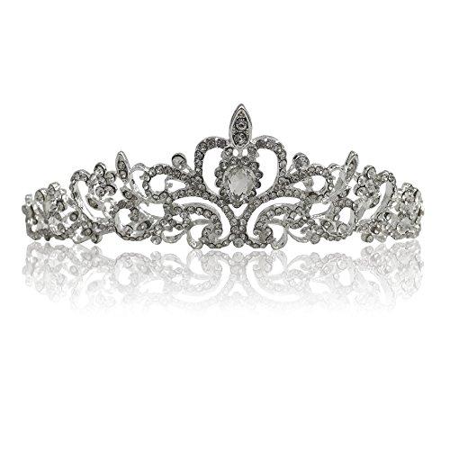 Katara 1738 - Corona con cristalli Tiara Nuziale Matrimonio Diadema da Sposa Regina Principessa per Bambina e Donna, Diadema 3