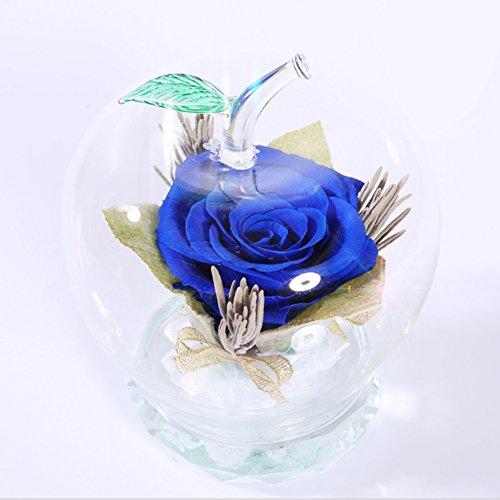éternel verre de fleurs ou des ornements en verre Boîte de cadeau de fleur de rose Cadeaux de noël Ornements d'apple-Bleu