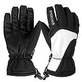 Skihandschuhe, HiCool Ski-/Snowboard-Handschuhe Sporthandschuhe Winterbekleidung Thermohandschuhe für Herren Damen (Weiß/Schwarz, S)