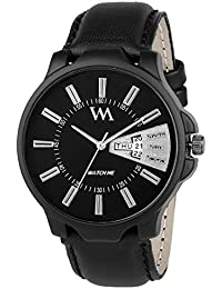 Watch Me Day And Date Collection Black Dial Black Leather Strap Watch For Men And Boys DDWM-029 DDWM-029rto5