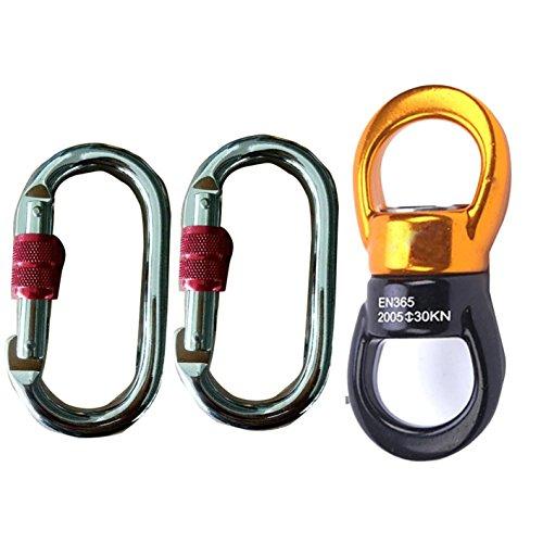 Hi suyi discensore arrampicata in lega di alluminio-magnesio 30 kn professionale per amaca yoga scalata arrampicata accessori multiuso girevole a 360 gradi con 2x moschettoni in acciaio