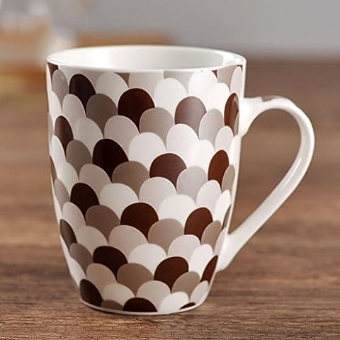 Las tazas de cerámica del hogar de café cubierta con la cuchara taza de café con leche Copa ( Color : #3