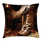 FAFANI Western Decor Throw Pillow Cushion Cover by, Wild West Boots in Wooden Room Classical Folkloric Old Fashioned Wild Sports Theme, Decorative Square Accent Pillow Case, 18 X 18 Inches, Brown