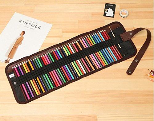 BrillantFarben Wachsmalstifte Buntstifte Set mit 48 Kunst Bleistifte mit verschiedenen Farben zum Zeichnen, Buntstifte mit tragbaren Roll-Up Canvas Case deal für alle Kinder Schulen Kinderzimmer Res