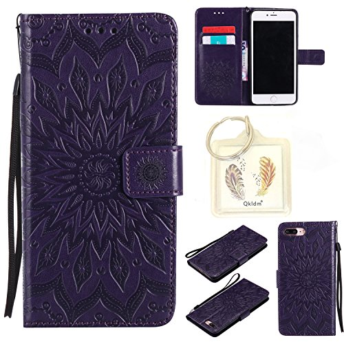 Preisvergleich Produktbild für iPhone 7 Plus 8 Plus (5,5 Zoll) Geprägte Muster Handy PU Leder Silikon Schutzhülle Handy case Book Style Portemonnaie Design für Apple iPhone 7 Plus 8 Plus (5,5 Zoll) + Schlüsselanhänger/*61 (5)