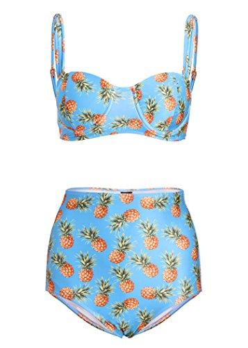 Türkis Blauer Ananas Retro Pin Up Vintage Damen Bikini mit hoher Taille (2-TLG. Set) – Gr. S