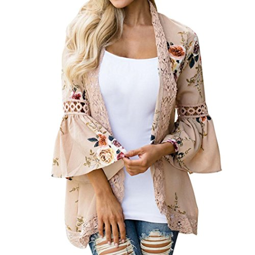 OverDose Fraun Chiffon-Spitze Blumen Öffnen Sie Cape Tops Casual Mantel Lose Bluse Kimono Jacke Cardigan(A-Khaki,M) (Gold Cardigan)
