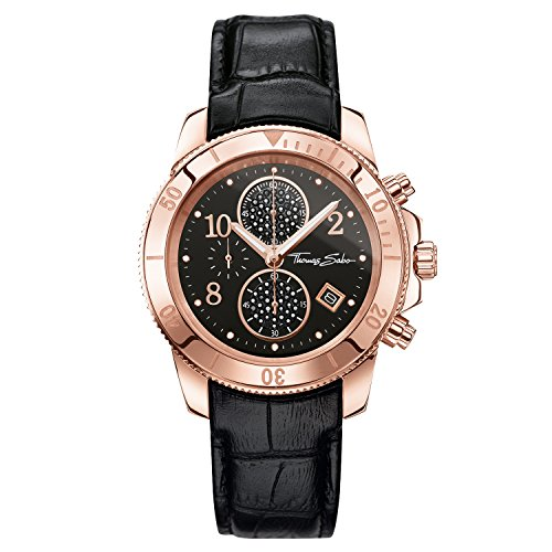 Thomas Sabo Women's Watch Glam Chrono Rose Gold Black Analogue Quartz