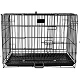 PSK PET MART 36 Inch Black Double Door Folding Metal cage with Removable Tray and paw Protector for Dogs,Cats and Rabbit