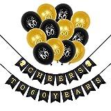 Konsait 60e Kit de décorations de fête d'anniversaire, Cheers à 60 Ans Anniversaire bannière, Noir et Or Ballon de Latex pour 60 Ans Fournitures de fête