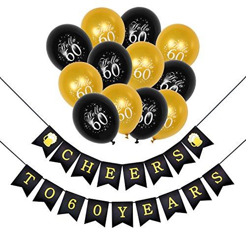 Konsait Saludos a 60 cumpleaños decoracion Bandera Banderines, cumpleaños globos de látex de oro negropara para Decoraciones Fiesta de Cumpleaños de 60 Años