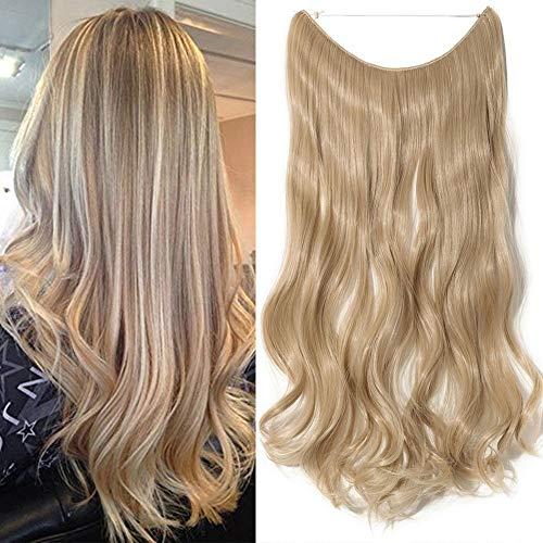 50cm extension capelli mossi pezzo unico con filo trasparente one piece wire in hair extensions 3/4 full head lunghi ondulati, biondo scuro/biondo chiarissimo