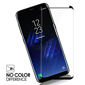 V CANTM Edge-To-Edge Full Screen Coverage 5D Glue Anti-Fingerprint 0.33mm HD+ View Crystal Clear Tempered Glass for Samsung Galaxy S9 Plus (Black)