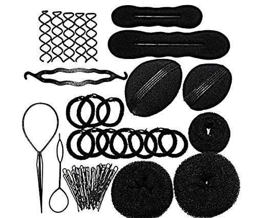 TININNA Haarknoten Roller Zopf Twist Gummibänder Stifte Haar Design Frisuren Werkzeuge Set EINWEG Verpackung -