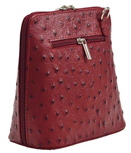 BORSETTA Borsa Tracolla Donna Vera Pelle Cuoio Spalla Mano Moda Made in Italy Rosso scuro