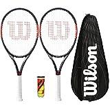 Wilson 2 x Federer Team BLX Tennis Schläger mit 3 Tennisbälle und Cover