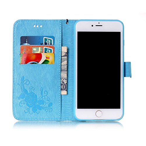 iPhone 7Plus custodia a portafoglio, Ledowp Apple iPhone 7Plus Premium custodia a portafoglio in pelle PU, Full Body Butterfly pattern design magnetico staccabile in pelle portafoglio Flip Cover per Blue