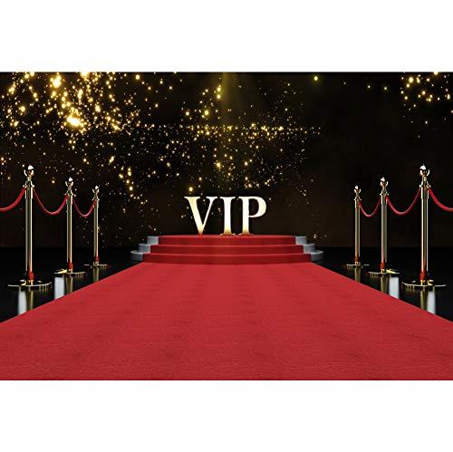 yl Fotohintergrund VIP Bühne Red Carpet Golden Glitter Punkte für Geburtstag, Hochzeit, Event, Party, Dekoration, Hochformat, Fotoshooting, Studio, Foto, Requisiten ()