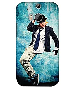 PrintHaat Designer Back Case Cover for HTC One M8 :: HTC M8 :: HTC One M8 Eye :: HTC One M8 Dual Sim :: HTC One M8s (sexy dance move :: boy dancing :: hand on head dancing step :: boy dancing in casuals with tie and hat :: love dance :: dance academy :: dance class :: in blue, white and black)