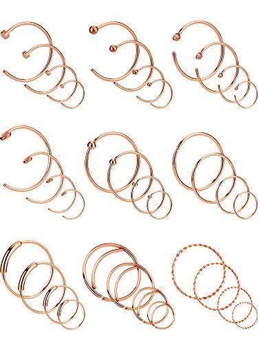 36 Stücke 20 Gauge Edelstahl Ohrringe Nase Piercing Ring Hoop Knorpel Piercing Schmuck für Männer und Damen, 4 Größen, 9 Stile (Ross Gold Farbe)