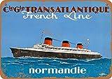 French Line Normandie Metall Poster Retro Blechschilder